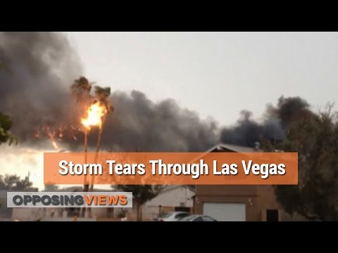 Flash Flood Storm Blows Through Nevada, Causes Tree To Catch Fire