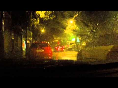 Rain sounds for sleeping. Rain in a car with lightning and thunder storm - Sleep Music