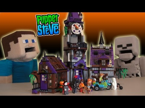 LEGO Scooby Doo Mystery Mansion set Story Adventure Minecraft Unboxing Review Puppet Steve