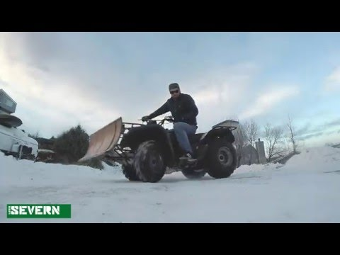 Testing out the Homemade ATV Snowplow