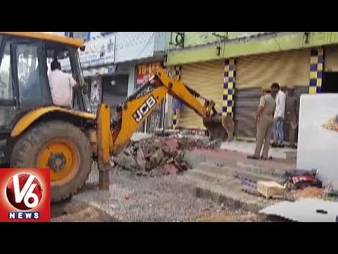 GHMC Officials Hold Footpath Encroachment Demolition Drive In Hyderabad | V6 News