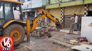 GHMC Officials Hold Footpath Encroachment Demolition Drive In Hyderabad