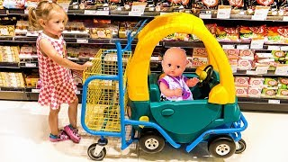 Funny Kid play at the Supermarket