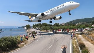 SKIATHOS 2018 - LOW LANDINGS and JETBLASTS vs. PEOPLE - Airbus A321, Boeing 717 ...