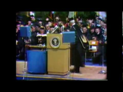 B Roll of LBJ's University of Michigan speech, 5/22/64.