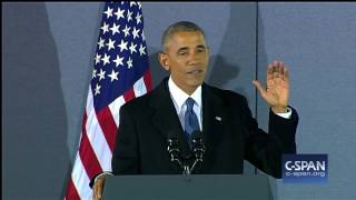 Former President Obama remarks at Andrews Air Force Base (C-SPAN)