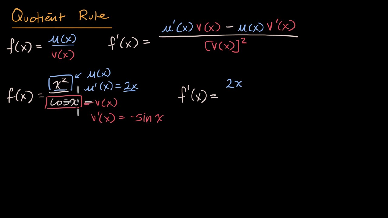 Quotient Rule Formula amp Examples  Video amp Lesson