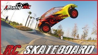 Massive Traxxas RC Car Skatepark Jump - Concrete Rally