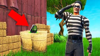 He Was HIDING In A HAY BALE! (Fortnite Hide And Seek)