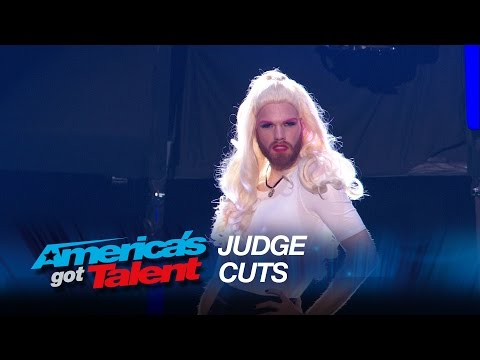 Scott Heierman: Bearded Drag Queen Gets Overcome With Emotions - America's Got Talent 2015