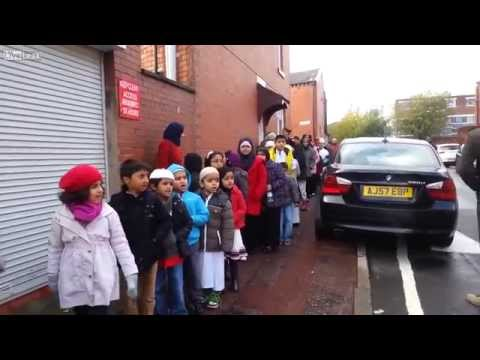 muslim chidren on the school run in Bolton UK
