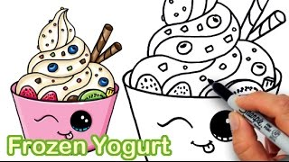 How to Draw Frozen Yogurt Dessert, Soft Serve Ice Cream cute