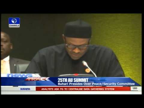 25th AU Summit: Buhari Presides Over Peace Security Committee 14/06/15