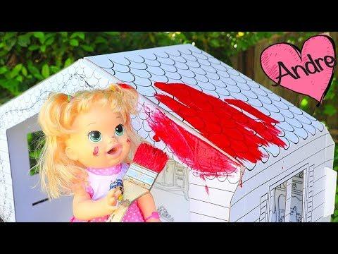 La muñeca Baby Alive Sara pinta casita   Muñecas y juguetes con Andre para niñas y niños