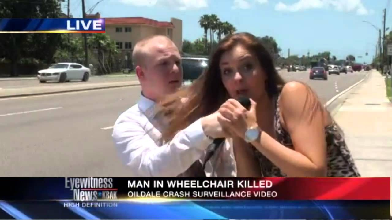 A male reporter is interrupted by a girl on LIVE-TV