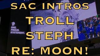 Kings jumbotron TROLLS Steph Curry during Warriors intros pregame in Sacramento at Golden1 Center