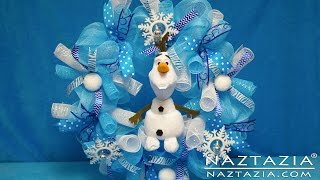 DIY Frozen Inspired Olaf Wreath How To Tutorial - Curls Curly Ribbon Deco Poly Geo Mesh