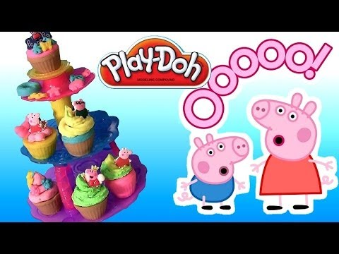 Play-Doh Cupcake Tower Sweet Shoppe ♥ Play-Doh Peppa Pig Frosting Mummy Pig n Daddy Pig clay toys