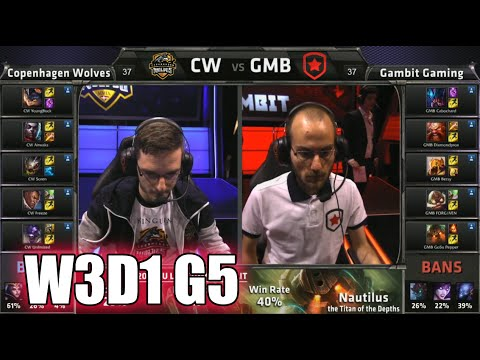 Copenhagen Wolves vs Gambit Gaming | S5 EU LCS Summer 2015 Week 3 Day 1 | CW vs GMB W3D1 G5 Round 1
