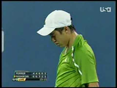 Nishikori again! US Open 2008. How to beat the Ferrer in 5! Game for 6-5 in set #5.