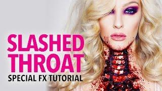 Slashed throat fx makeup tutorial
