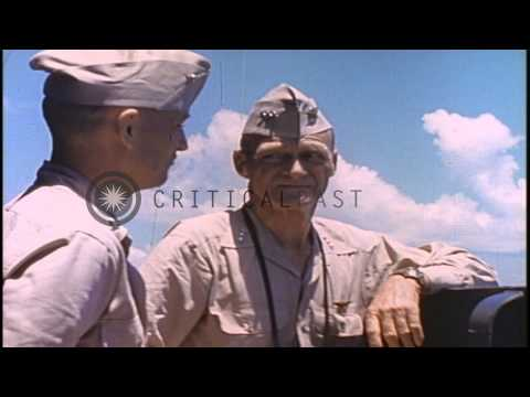 Vice Admiral Marc Mitscher, Commander of Task Force 58 aboard his Flag Ship, the ...HD Stock Footage