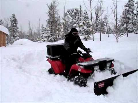 ATV Plowing 3 Feet of Snow: Kawasaki Prairie 400