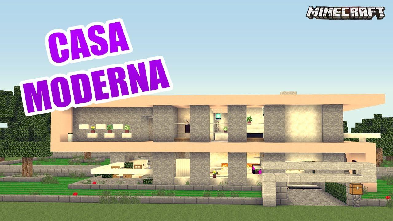 Minecraft casa moderna de lujo y bonita youtube for Casa moderna por fuera