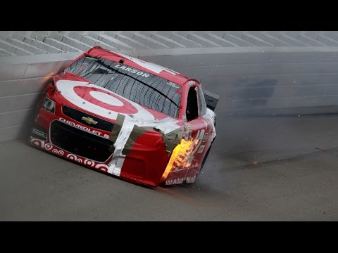 Kyle Larson Hard Crash @ 2014 NASCAR Sprint Cup Michigan