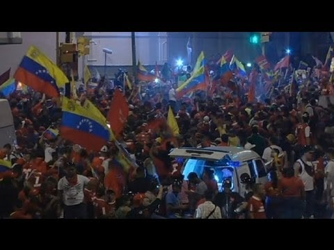 Chavez supporters celebrate election victory - no comment