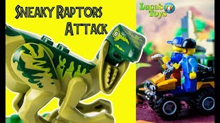 Sneaky raptors attack on lego city workers  / lego dinosaurs stop motion