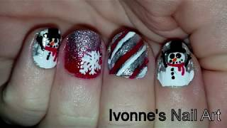 How-to: Christmas With Snow And A Snowman Nail Art Tutorial