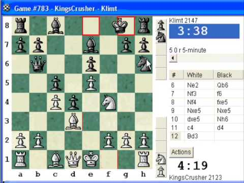 Chess World.net: LIVE Blitz #153 vs. Klimt (2147) - French Defense - Tarrasch Variation (C03)