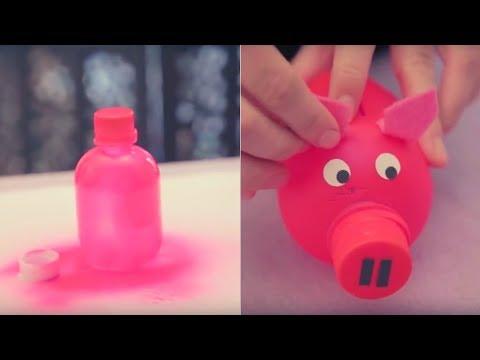 Alcanc as hechas con botellas de pl stico youtube - Manualidades con tapones de plastico ...