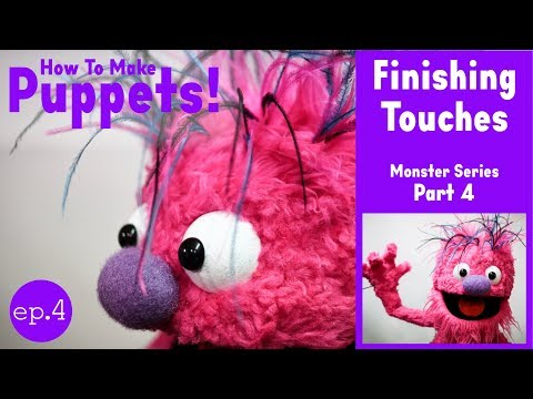 How To Make a Puppet! Monster Series - Part 4: Finishing Touches (Ostrich Feathers & Styling Fur)