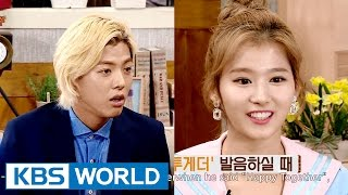 "Sana, ""Kangnam's Happy Together accent is a Korean accent"" [Happy Together/2016.07.21]"