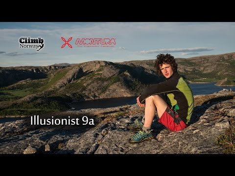Adam Ondra climbing Illusionist 9a in Flatanger Norway