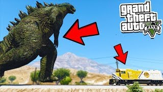 GTA 5 GODZILLA Vs TRAIN!! CAN HE STOP THE TRAIN? (GTA 5 Gameplay)