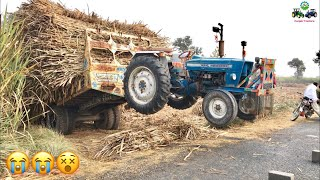 Tractor accident | Ford 4000 Fail to Pull out Trolley and Hanged with it