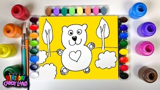 Coloring Page for Kids to Learn Colors and Color a Heart Bear