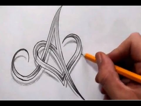 Initial A and Heart Combined Together - Celtic Weave Style - Letter Tattoo Design