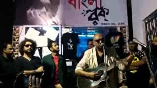 Rupam Islam and Anjan Dutta and Parambrata Chatterjee in kolkata book fair 2k16