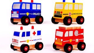 Learn Colors with Fire Truck School Bus Ambulance and Police Car Puzzles