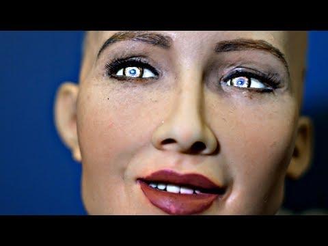 Two AI robots Sophia & Han debate the future of humanity  - Rise 2017