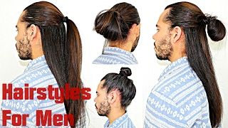 Hairstyles For Men With Long Hair Super Quick & Easy Half Up/Down Man Bun Topknot Tutorial
