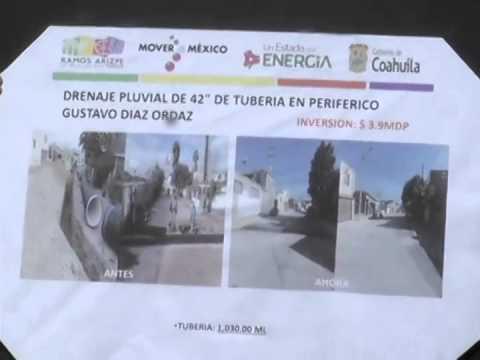 Entregan autoridades estatales y municipales colector pluvial en Ramos Arizpe