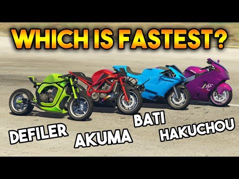 GTA 5 ONLINE : AKUMA VS HAKUCHOU VS BATI 801 VS DEFILER (WHICH IS FASTEST BIKE ?)