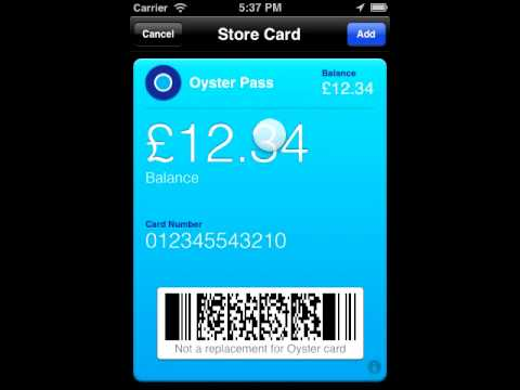 Your Oyster card balance in iPhone iOS 6 Passbook