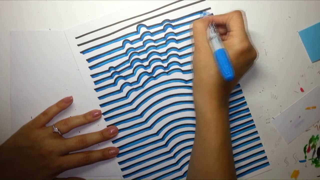 3d Line Drawing Hand : How to draw a d hand optical illusion youtube