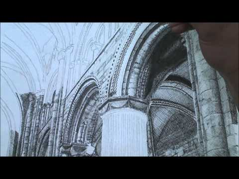 Speed Drawing Durham Cathedral Columns - Cross Hatching Technique